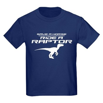 Save a Horse, Ride a Raptor Kids Dark T-Shirt