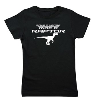 Save a Horse, Ride a Raptor Girl's Dark Tee