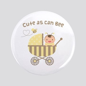 Cute Bumble Bee Baby in Stroller Button
