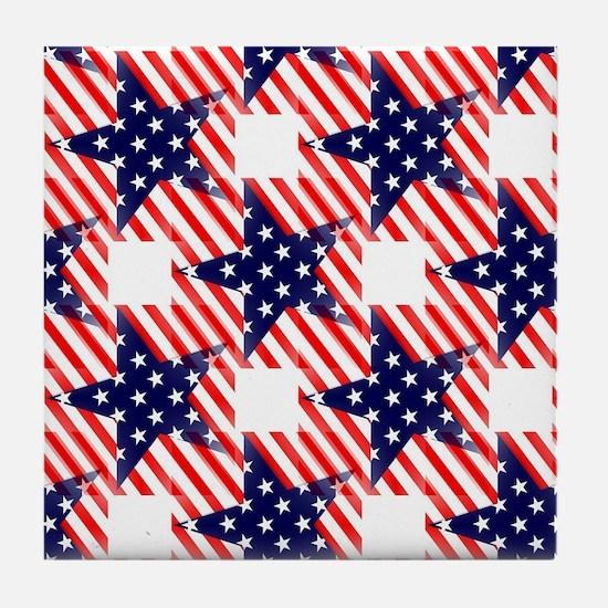 patriotic star Tile Coaster