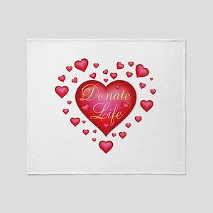 Donate Life Heart burst Throw Blanket