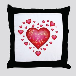 Donate Life Heart burst Throw Pillow