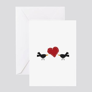 CROWS AND HEART Greeting Cards