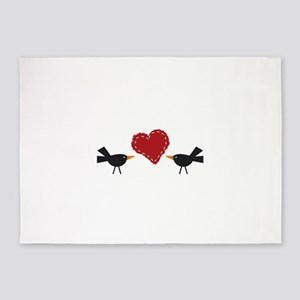 CROWS AND HEART 5'x7'Area Rug