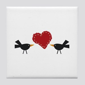 CROWS AND HEART Tile Coaster