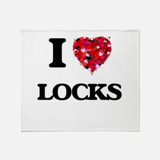 I Love Locks Throw Blanket