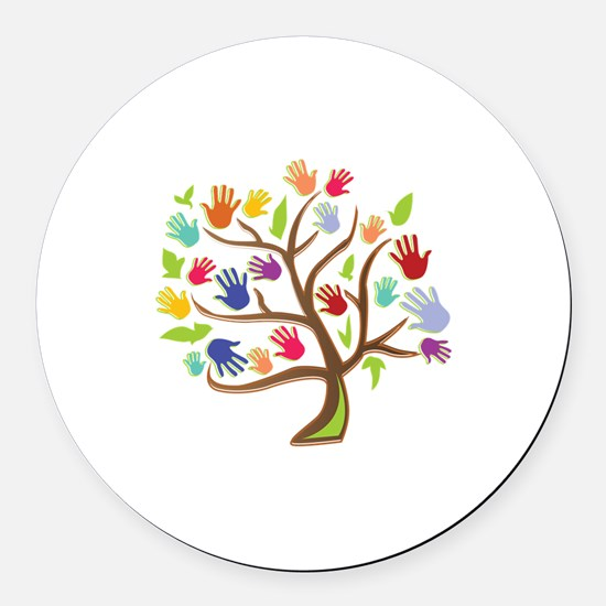 Tree Of Hands Round Car Magnet