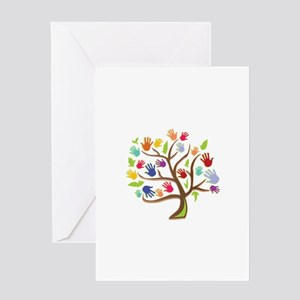 Tree Of Hands Greeting Cards