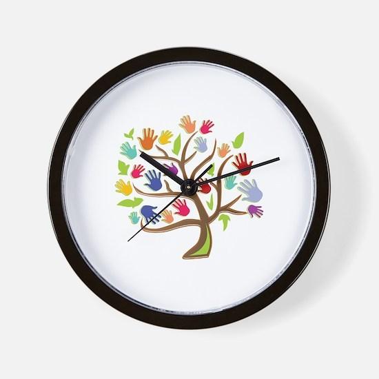 Tree Of Hands Wall Clock