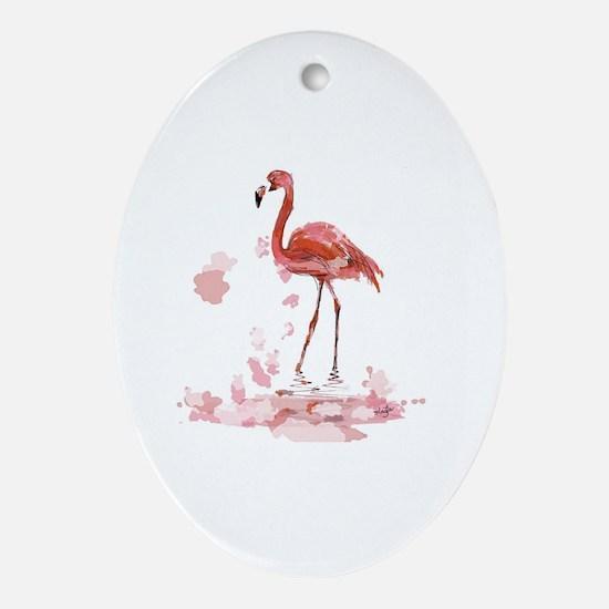Cute Pink flamingo bath Oval Ornament