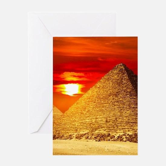 Egyptian Pyramids At Sunset Greeting Cards