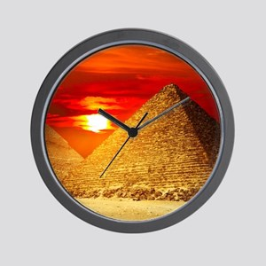 Egyptian Pyramids At Sunset Wall Clock