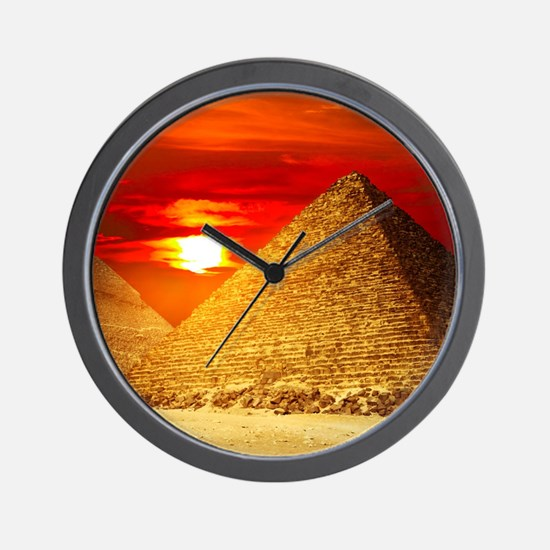 Egyptian Pyramids At Sunset Wall Clock