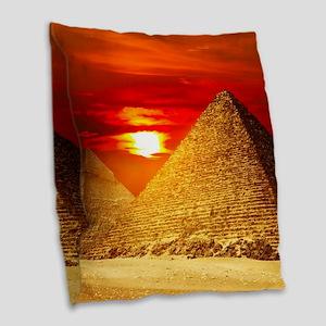 Egyptian Pyramids At Sunset Burlap Throw Pillow