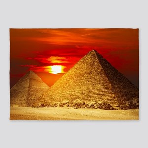 Egyptian Pyramids At Sunset 5'x7'Area Rug