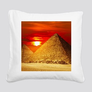 Egyptian Pyramids At Sunset Square Canvas Pillow