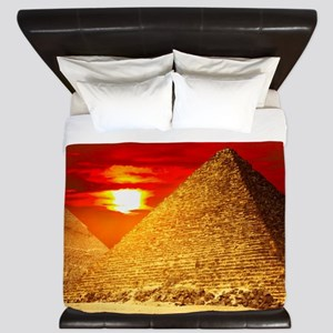 Egyptian Pyramids At Sunset King Duvet