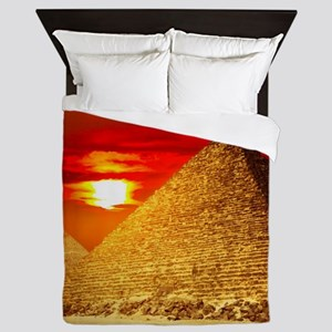 Egyptian Pyramids At Sunset Queen Duvet