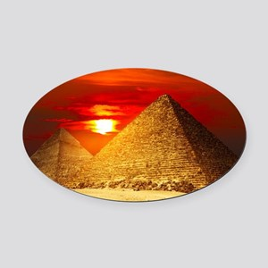 Egyptian Pyramids At Sunset Oval Car Magnet