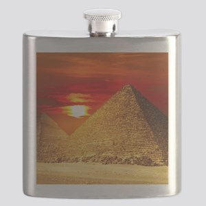 Egyptian Pyramids At Sunset Flask