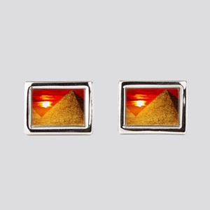 Egyptian Pyramids At Sunset Rectangular Cufflinks