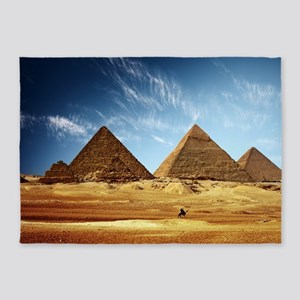 Egyptian Pyramids and Camel 5'x7'Area Rug