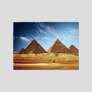 Egyptian Pyramids and Camel 5'x7'Area Rug