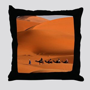 Camel Caravan In The Desert Throw Pillow