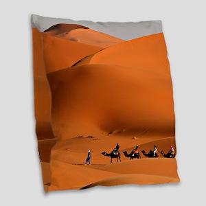 Camel Caravan In The Desert Burlap Throw Pillow