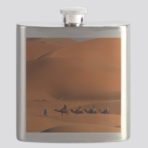 Camel Caravan In The Desert Flask