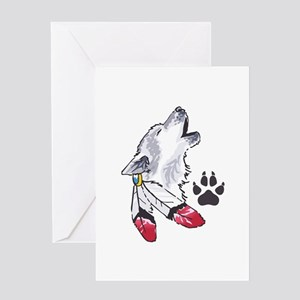 WOLF AND PAW PRINT Greeting Cards
