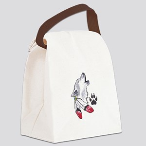 WOLF AND PAW PRINT Canvas Lunch Bag
