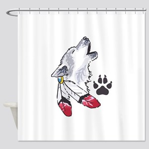 WOLF AND PAW PRINT Shower Curtain