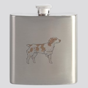BRITTANY SPANIEL ON POINT Flask