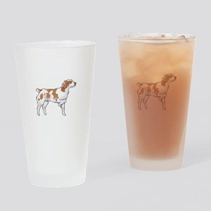 BRITTANY SPANIEL ON POINT Drinking Glass