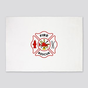 MALTESE CROSS FIRE RESCUE 5'x7'Area Rug
