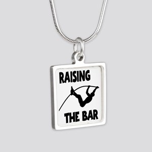 POLE VAULTING Silver Square Necklace
