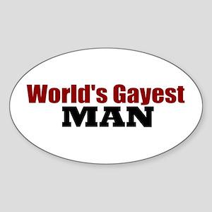 World's Gayest Man Oval Sticker