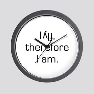 I Fly Inverted Therefore I Am Wall Clock