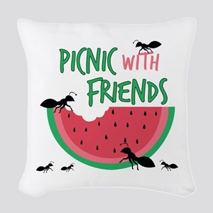 Picnic With Friends Woven Throw Pillow