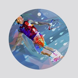 Super Crayon Colored Wakeboarding i Round Ornament