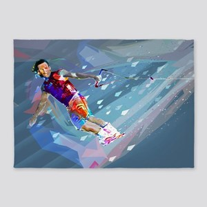 Super Crayon Colored Wakeboarding i 5'x7'Area Rug
