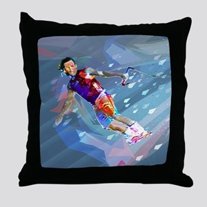 Super Crayon Colored Wakeboarding in Throw Pillow