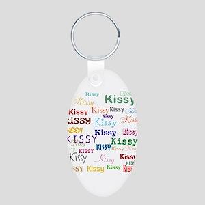 KISSY,KISSY,KISSY,KISSY. RE Aluminum Oval Keychain