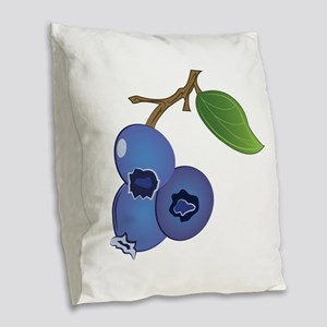 Blueberries Burlap Throw Pillow