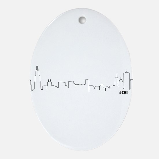 CHICAGO SKYLINE #CHI Ornament (Oval)