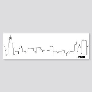 CHICAGO SKYLINE #CHI Bumper Sticker