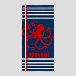 Navy Nautical Octopus Personalized Beach Towel