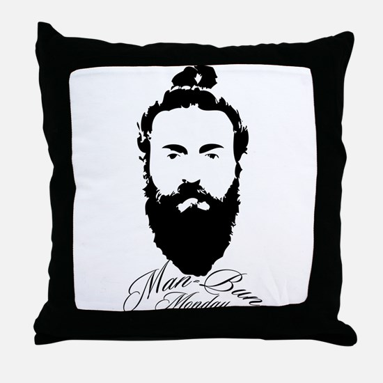 Man Bun Monday Throw Pillow
