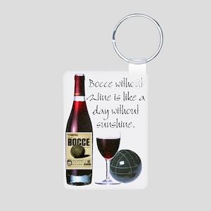 Bocce and Wine Aluminum Photo Keychain